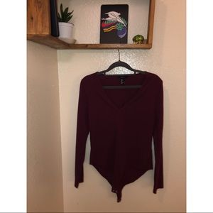 Forever 21 burgundy jumpsuit 3/4 sleeve